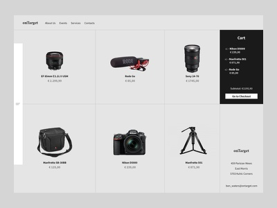 Ontarget Store Concept clean ux ui site shop photography minimal homepage ecommerce