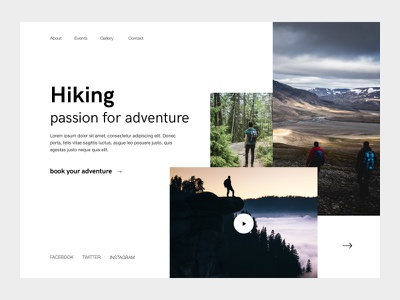 Hiking Landing white web ux ui mountain minimal landing hiking black