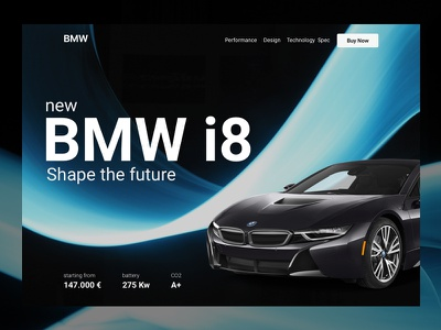BMW i8 Landing Concept electric black bmw website ux ui layout landing page clean car app