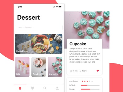 Dessert Mobile App minimal interface android ios layout ui clean food dessert design app