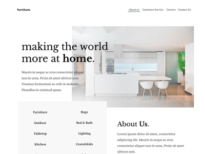 Furniture Landing black layout white landing  page furniture landing web ui clean minimal