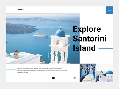 Santorini Lading blue trip travel lading page white ui web clean minimal
