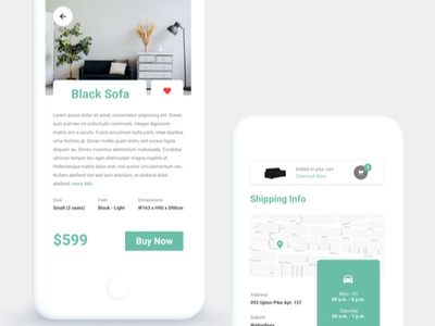 Mobile Furniture Shop green app ui white clean minimal