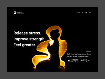 Daily Yoga yoga typography design website ui web clean white minimal