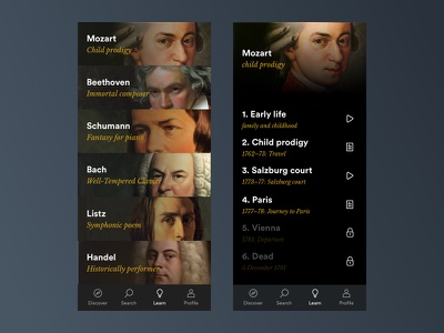 Classical Music Learn App typography classical music design black ios app clean minimal