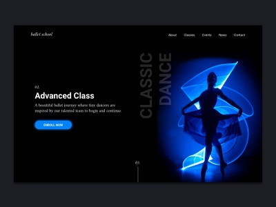 Dance School Website clean white black dark ui website design dance music school dancer dance