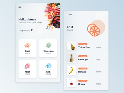 Smart Fridge white ui design ios clean fridge app design app