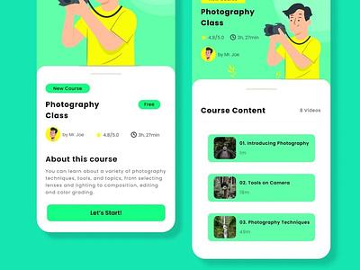 Mobile App - Online Course ux typography icon design branding app ui