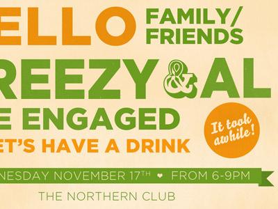 Engagement party invite invite wedding typography texture
