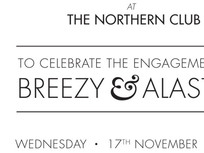 Engagement invite (oldies version) wedding invite typography futura