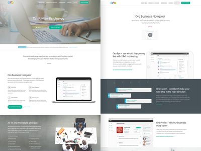 Ora Marketing site re-design business landing page homepage web design flat website landing page ui ux