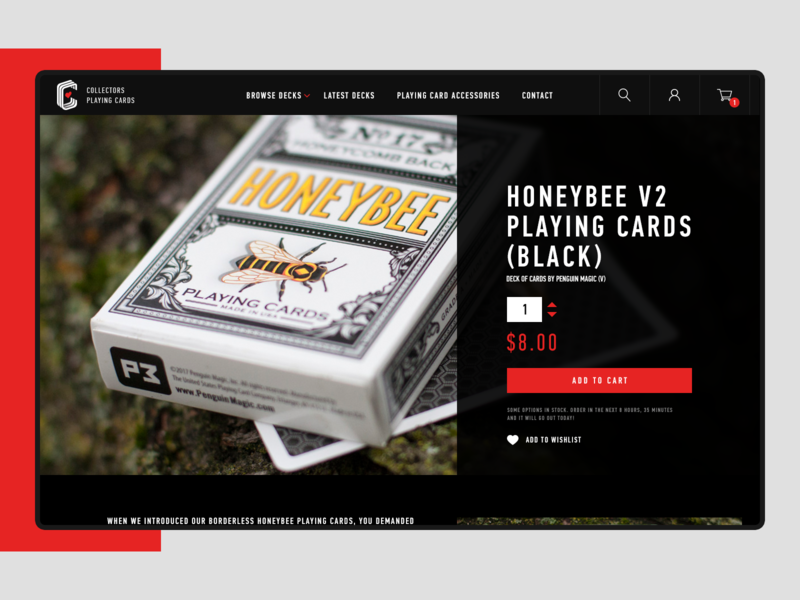 Collectors Playing Cards cards interface magic site uiux design