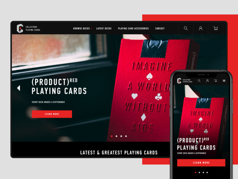 Collectors Playing Cards magic interface site uiux design