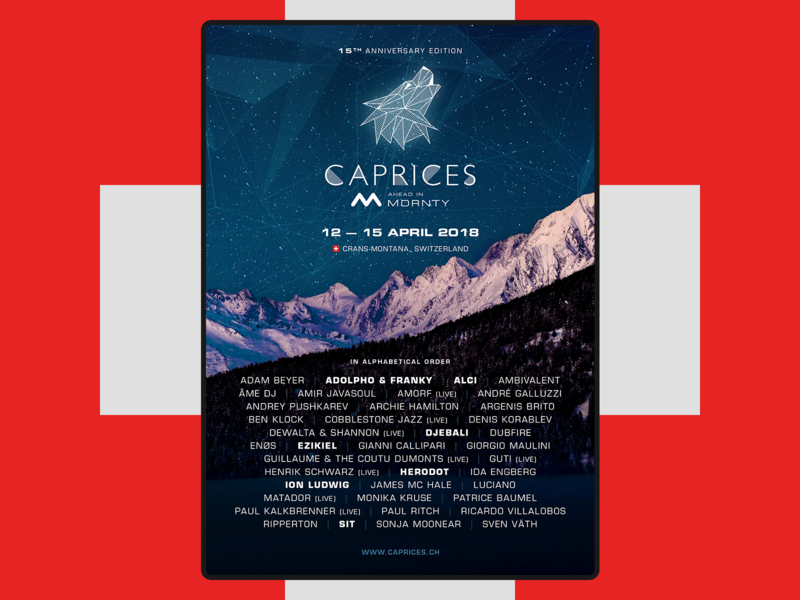 Caprices 2018 Poster techno mountains swiss swiss style switzerland caprices music music festival design