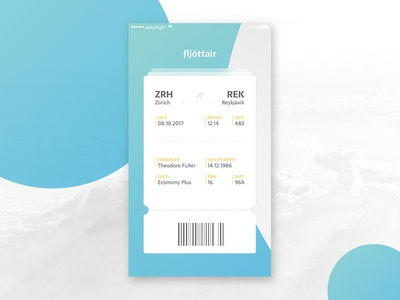 Boarding Pass (Daily UI #024) dailyui challenge ux ui airline flight app boarding pass appdesign 024 daily ui 024