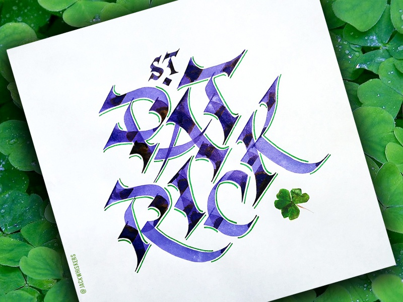 St. Patrick jack whiskers custom type handlettering type st patrick clover ireland irish stpatricsday typography lettering calligraphy