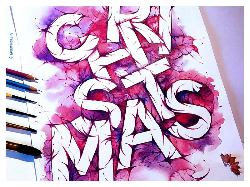 Merry CHRISTMAS | Illustrative lettering jack whiskers illustration custom type freestyle art director art direction graphic designer graphic design christmas typography lettering calligraphy