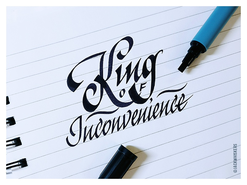 King OF logotype custom type typographer graphic designer graphic design inconvenience king jack whiskers typography lettering calligraphy