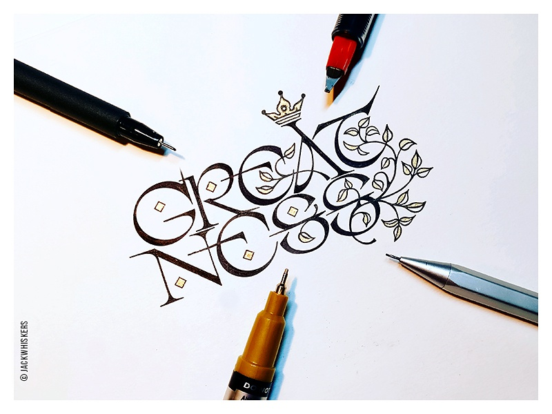 » greatness « jack whiskers custom type word mark logotype type type design graphic design art direction hand lettering typography lettering calligraphy