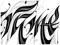 Hand-lettering to vectors. Detail