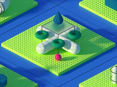abstract scene single shot mat ball waterdrop pattern 3d octane c4d