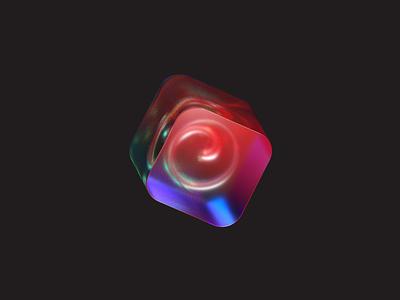 glass logo 2-3 steel spiral transparent glass logo 3d octane c4d
