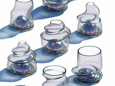 the bell jar w cup glass 3d octane c4d bell jar