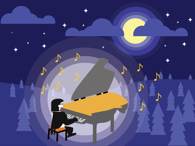 Playing Piano Under The Moon illustration vector design graphic design