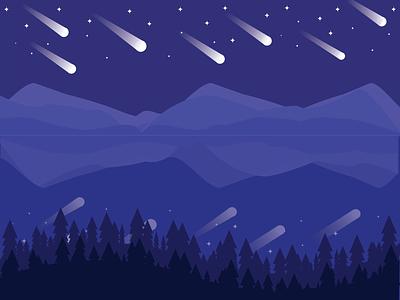 Shooting Star star landscape meteorshower shootingstar dribbbleweeklywarmup illustration vector flatdesign flat graphic design design