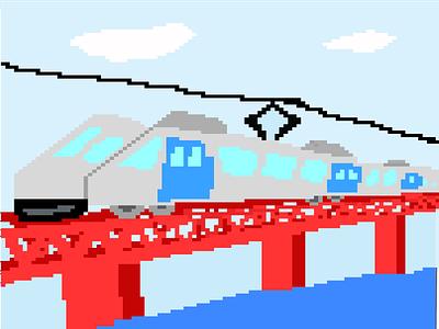 My Very First Pixel Art bridge train pixelart art pixel illustration graphic design design