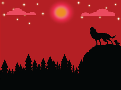 Howling Wolf Under the Full Moon dribbbleweeklywarmup moon wolf flatdesign vector flat illustration graphic design design