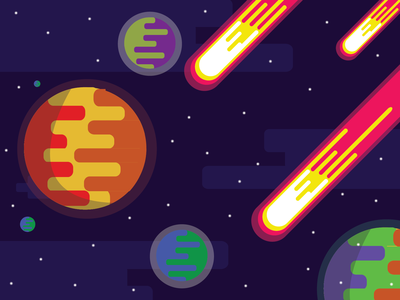 Space Planet comet earth planet flatdesign vector flat illustration graphic design design