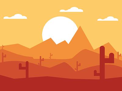 Desert scenery desert flatdesign vector flat illustration graphic design design