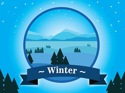 Winter Badge | V.01 snow season weather winterbadge badge winter dribbbleweeklywarmup flatdesign vector flat illustration graphic design design