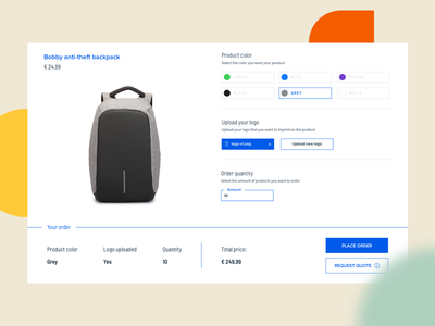 Product configuration and checkout backpack bag bobby web website configurator checkout ux ui business design promo