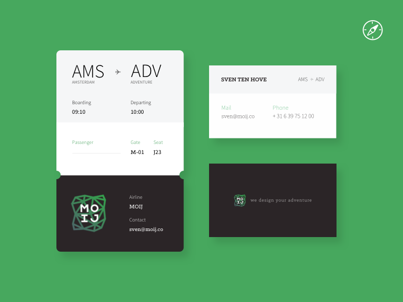 MOIJ Business card & boarding pass ux design print brand moij card business adventure travel flight pass boarding