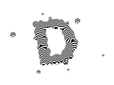 Letter D bacteria black and white stripes 3d letters letter type design digital art lettering 3d type typography op art