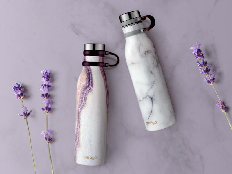 Contigo water bottle couture lavender style purple flower flowers marble water bottle water bottles