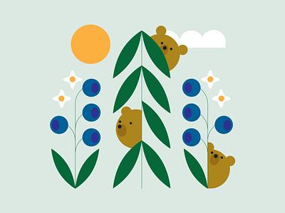 Bears & Blueberries sun blueberry bear