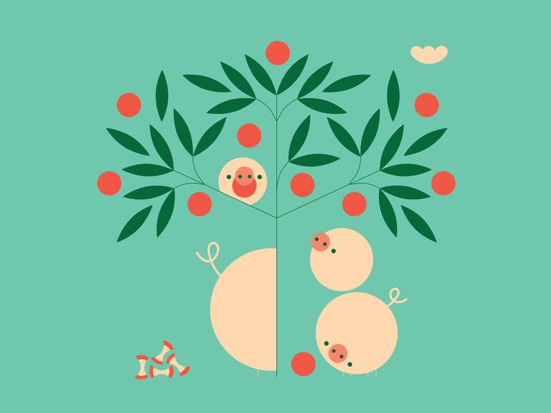 Family Fun nature vector illustration apple pig