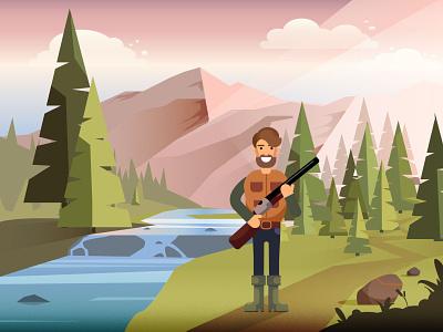 Hunter nature gun river landscape hunter forest illustration