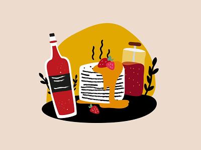 Wine & crepes week pankake tea crepes wine food illustration