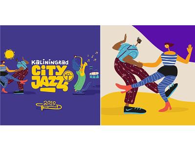 KLD City Jazz festival city piano festival jazz music boy girl illustration