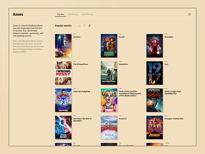 AMOS - movies database ui userinterface website movie imdb design movies dashboard