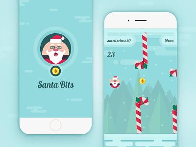 Santa Bits - mobile game christmas flappy bird bitcoin santa app mobile game