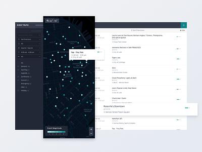 Event Truth tool / dashboard events interface design data visulization ux ui map data dashboad uber design