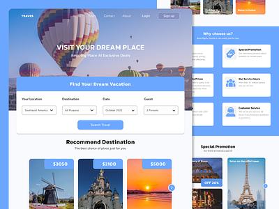 Traves Web Design flight plane branding vacation hotel travel landing page web design ux ui