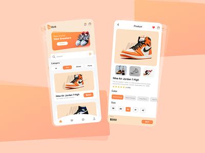Shous mobile app design shoe shop branding moblie app ux ui