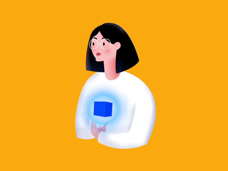 One with the Box illustrator vector clean adobe illustration minimal flat character art self portrait portait organize box