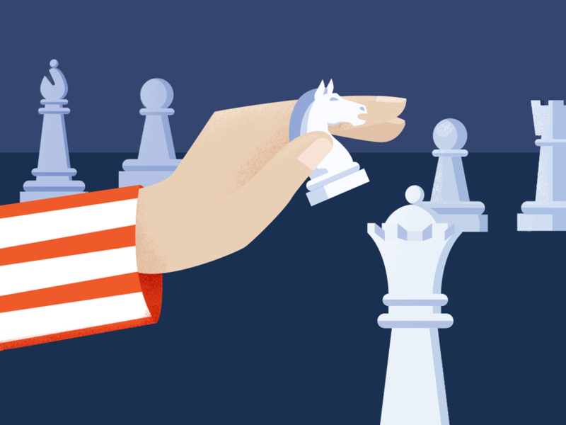 USA Strategy minimal design texture flat knight pawn horse chess usa flag editorial illustration editorial usa